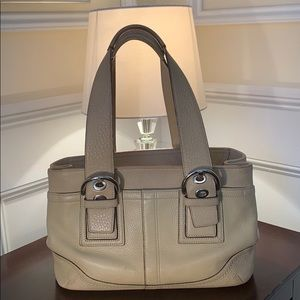 Coach Soho Ivory Color Pebbled Leather Tote